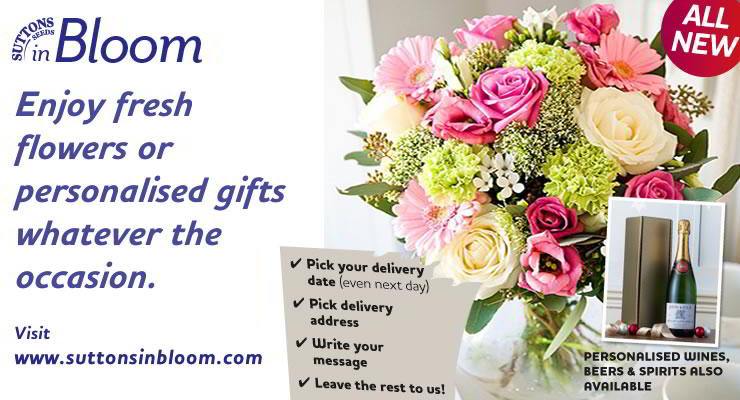 Visit Suttons in Bloom, for fresh flower bouquets delivered to your door.