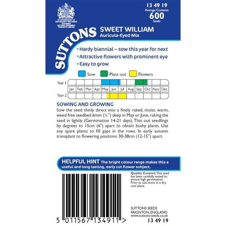 Sweet William Seeds - Auricula-Eyed Mix