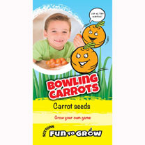 These cute little round carrots are easy and fast to grow. They are great to eat, but they also make great rolling carrots. Roll them like marbles or