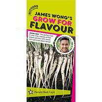 Part of the James Wong Grow For Flavour Range. James says The perfect two-in-one crop, masses of flat leaved parsley with sweet mini parsnips down bel