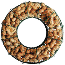 Wire wreath style feeder suitable for peanuts, with relockable opening. Peanuts included. 31 x 8 x 31cm.