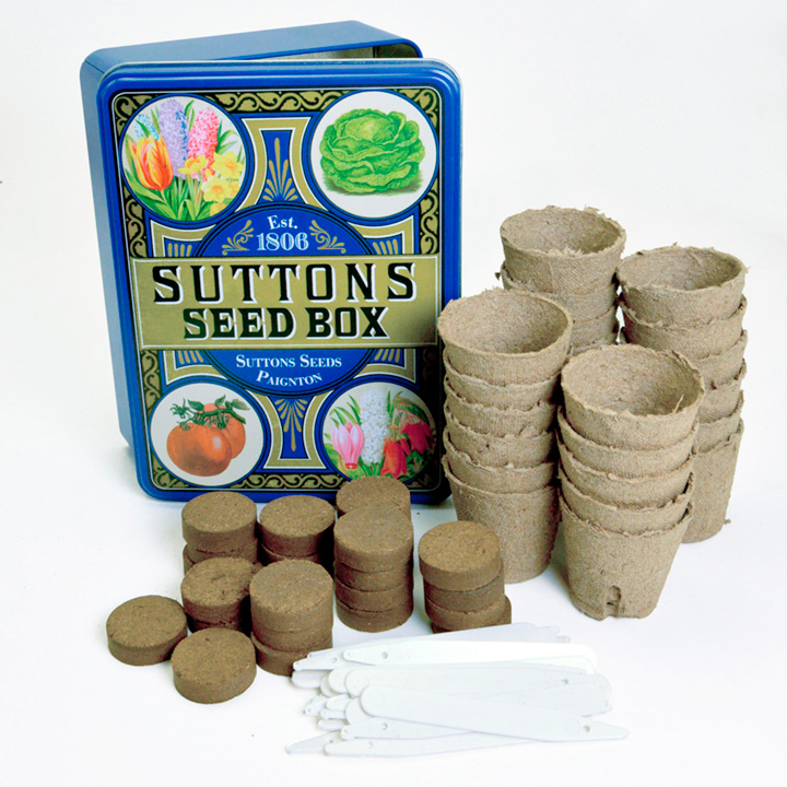 Suttons Blue Seed Tin with Bits and Bobs