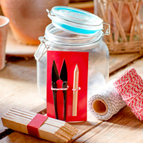 Glass jar containing traditional striped twine, plant labels, razor sharp snips (ideal for deadheading) and a handy pencil, along with six packets of