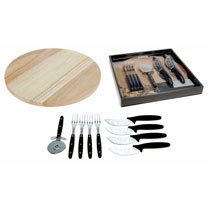 Ten piece pizza serving set. Contains pizza board (diameter 30cm), cutting wheel, four knives and forks.