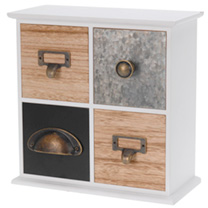 Stylish 4 drawer storage cabinet. Constructed from MDF with some metal drawer fronts, this piece will look equally at home on a dressing table, desk o