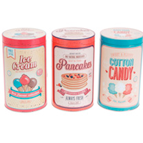 Storage tin with vintage style illustration ideal for the kitchen, what design you get will be a nice surprise. Storage tin 11 x 19cm.