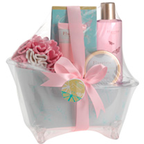 Beautifully presented perspex bath tub shaped vessel supplied with Hibiscus scented shower gel 250ml, body lotion 60ml, bath crystals 100g and body sc