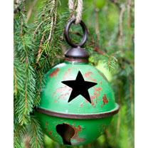 Large Star Design Metal Bauble - Green
