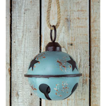 Giant Metal Baubles with Star Design - Blue