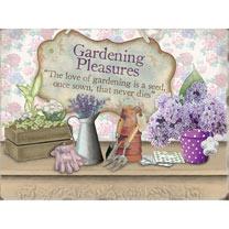 Gardening Pleasures Metal Sign