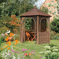 6 sided gazebo Attractive rustic design Fixing pegs provided Quick and easy assembly Can be easily disassembled for winter storageDimensions: EXTERNAL