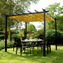 Free-standing canopy Retractable taupe-coloured canopy Showerproof polyester fabric Fabric removable for winter storage Aluminium construction Gunmeta