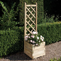 Pressure treated to protect against rot Natural timber finish Attractive lattice back, ideal for climbing plants Can be painted or stained if desiredD