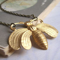 Honey Bee Necklace - Gold-tone Brass