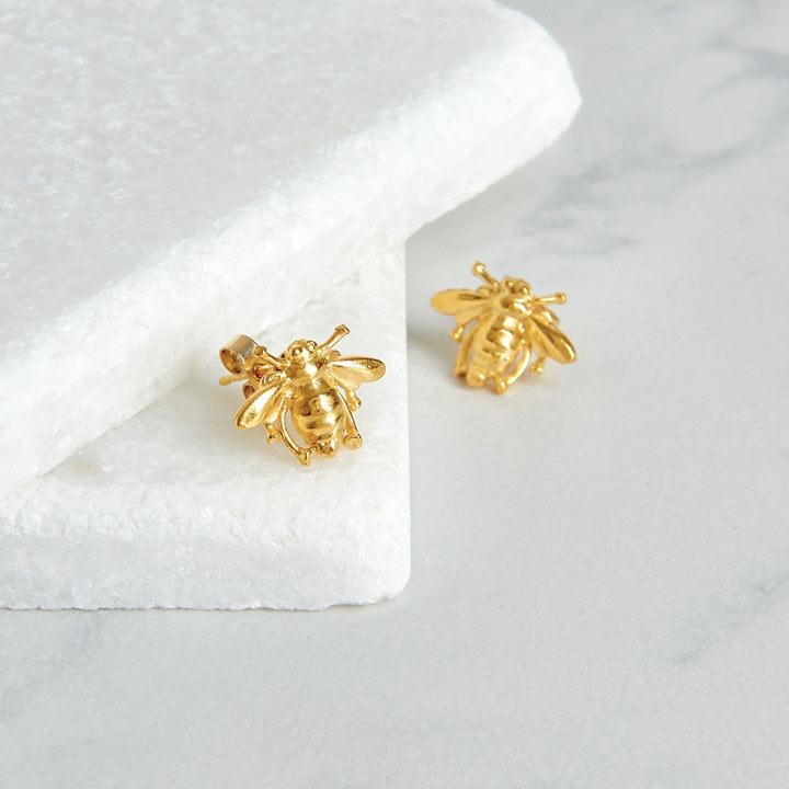 Gold Vermeil Bee Stud Earrings