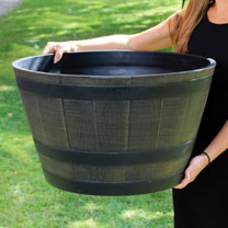 This traditional and rustic oak barrel design planter is made from durable and weather resistant plastic. The largest of three sizes available, it mea