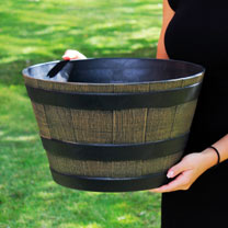 This traditional and rustic oak barrel design planter is made from durable and weather resistant plastic. The smallest of three sizes available, it me
