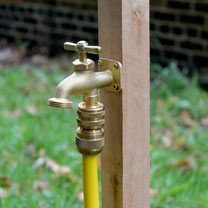 Create a water tap wherever you want with this 'Wherever Water Tap. Simply screw this solid brass tap to a wooden stake, fence post, wall or wherever