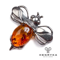 Bumble Bee Brooch in Silver and Cognac Amber