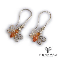 Tiny Honey Bee Drop Earrings in Silver and Cognac Amber