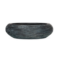 Capi Nature Bowl Round Rib Planter - Black