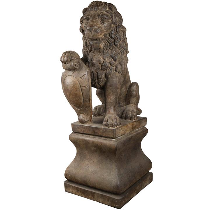 Lion & Pedestal Set of 2 - Relic Lava