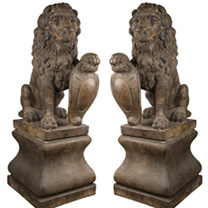 Lion & Pedestal Set of 2 - Relic Lava