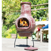 This plain medium dark red mottled clay chimenea is a delightful addition making the garden warming for entertaining friends and family. This chimenea