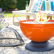 Globe Orange Firepit with Grill