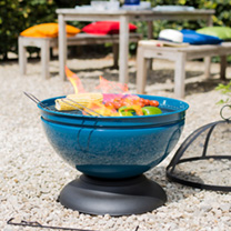 Globe Blue Firepit with Grill