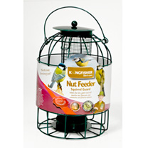 Metal nut feeder with squirrel guard. Suitable for tits, sparrows and nuthatches. Hang the feeder out of the reach of predators and away from nesting