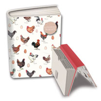 A5 concertina wallet, five pockets for notes and receipts, with velcro fastener. Features the countryside illustrations of Madeleine Floyd's chicken's