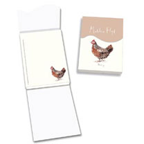 Magnetic memo pad 10 x 21cm. Features the countryside illustrations of Madeleine Floyd's chicken's collection.