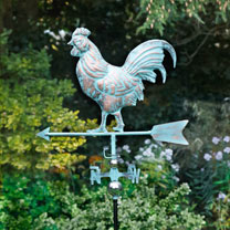 Always know which way the wind is blowing with this elegant, highly decorative weathervane. Made from stainless steel and finsished to give a copper-c