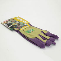 Gardening Gloves - Ladies Essential Embroidered Cotton Purple Size 6