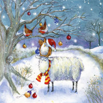 Owl and Robins Decorating Tree - Christmas Cards