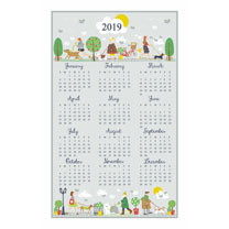 Walkies Calendar Tea Towel