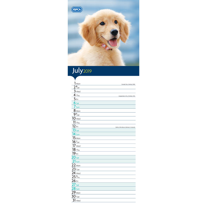 RSPCA I Love Puppies Slim Calendar