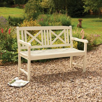 Hardwood Bench - White