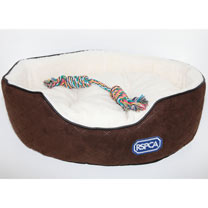 RSPCA Quilted Oval Foam Dog Bed with Rope Toy
