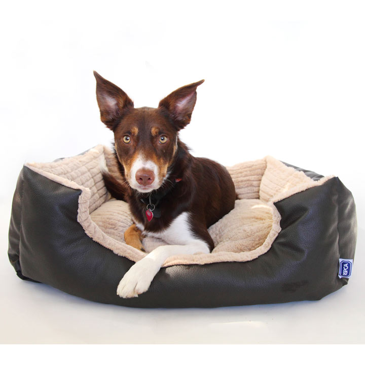 RSPCA Rectangular Leather Effect Dog Bed - Brown