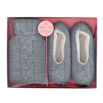 Slippers & Hot Water Bottle Set