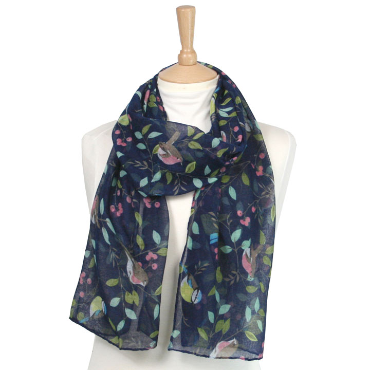Scarf - Navy Bird