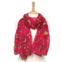 Scarf - Raspberry Bird