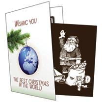 Chocomotif Christmas Card Waving Santa
