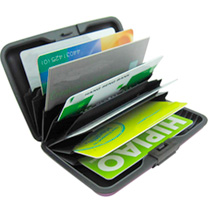 Brushed aluminium wallet, fully sealed, with RIFD protection (illegal data theft). Seven pockets holds up to ten cards.