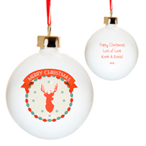 An elegant ceramic stag bauble to wish a Merry Christmas, personalised with a message from you, ready to hang on the tree. Personalisation: up to 80 l