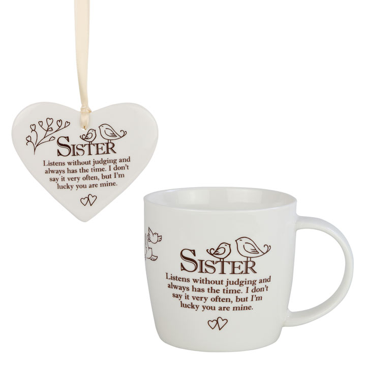 Ceramic Mug & Heart - Sister
