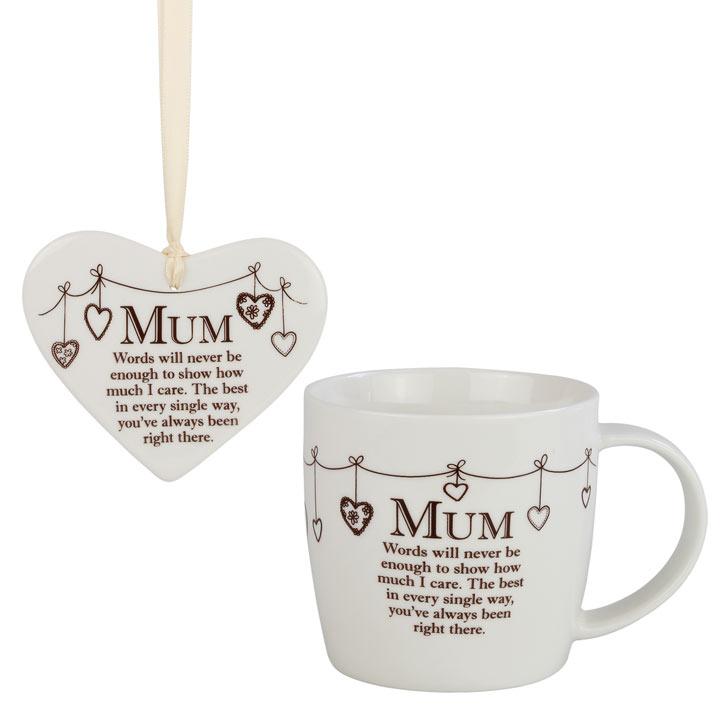 Ceramic Mug & Heart - Mum