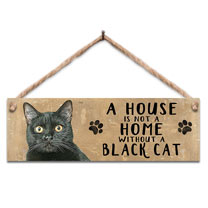 Black Cat Home Wooden Sign